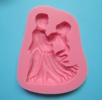 New Arrival Charming women and man dancer shape 3D silicone cake fondant mold, cake decoration tools, soap, candle moulds  C203