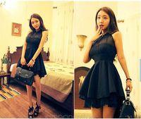 2014 Fashion Sexy Women Lady Girls Halter Neck Sleeveless Backless Asymmetrical Mini Dress Black/Rose Color J-CE1413