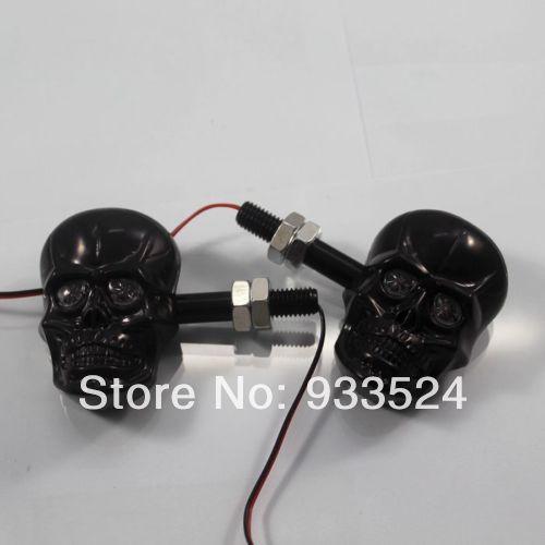 1 Pair Black LED Skull Amber Turn Signals Light for Suzuki Boulevard Intruder C50 Gsxr Honda CBR VTX Shadow Kawasaki ZX VN Ninja(China (Mainland))
