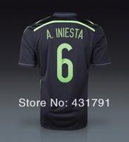 2014 AAA World Cup ESPANA Spain Black 6 A. INESTA Copa del Mundo Camisetas de Futbol T Shirt and Spainish National Soccer Jersey
