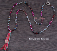 Exclusive Handmade Mixed Agate with Colorful Tassel Beads Necklace Classic Onyx Beaded Necklace for Women Luxury Jewelry