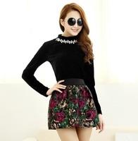 2014 new Korean retro flower elastic waist woolen tutu skirts wholesale women