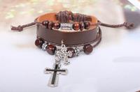 Korean Version Of The Retro Cross Beaded Bracelet Braided Leather Bracelet Jewelry QNW2001