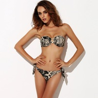 2014 New Perfection & Confidence THE FILLE Women's Sexy Animal Print Strapless Bikinis set swimwear Free Shipping