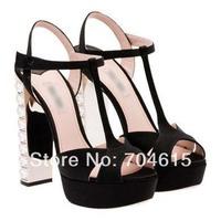 2014 new free shipping womens brand real leather black silver 12cm rhinestone crystal heels platform dress wedding sandal shoe