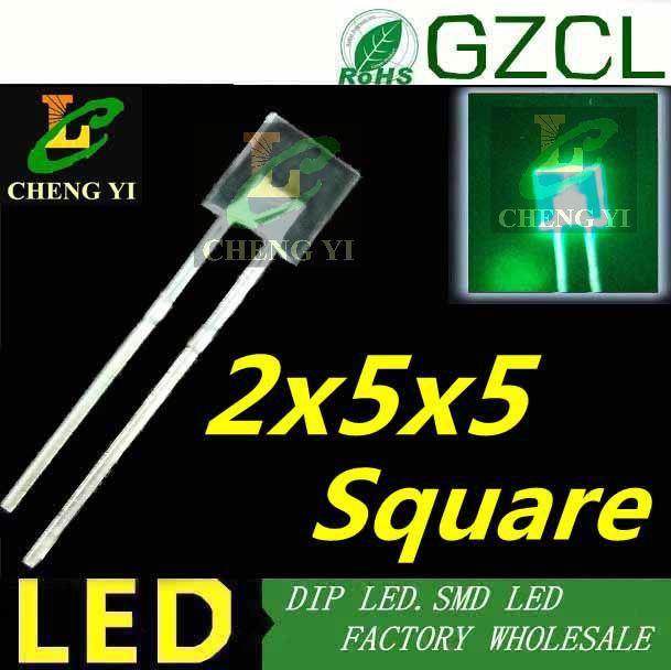 High bright square 2x5x5mm DIP LED Green 5mm light diode 520-525nm 3.0-3.5V(CE&Rosh)(China (Mainland))