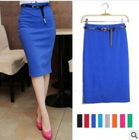2014 new factory direct wholesale candy color in spring and summer long section of elastic 9-color package hip skirts women