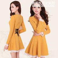 New 2014 dress summer casual Women's Charming Crewneck Bubble long Sleeve Dress Plus Size 4 colors