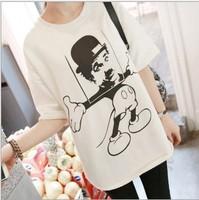 New 2014 women t-shirt casual woman clothes cotton women tops summer women shirt Chaplin cartoon head portrait mickey mouse