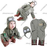 Baby Infant Kid Child Toddler Newborn Boy Pilot Military Onesie Bodysuit Romper Jumpsuit Outfit One-Piece Hoodie Hooded Suit Set