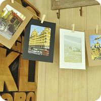 "10pcs/set 6"" Kraft paper photo frame, hemp rope and clips hanging wall photo frame DX105"