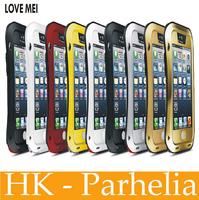 Original LOVE MEI brand Shockproof Waterproof Dustproof Metal cover Case Gorilla Glass Fingerprint Sensor for iphone 5 5S