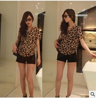 2014 Summer new fashion sexy leopard short sleeve shirt chiffon blouse