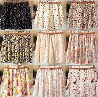 2014 Korean wild floral chiffon skirts bust rendering package hip skirt with belt women