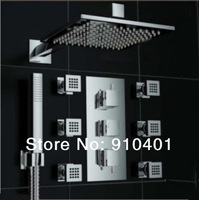 "Wholesale And Retail Promotion Luxury Modern Thermostatic 10"" Rain Shower Faucet Body Jets Sprayer Hand Shower"