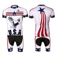 Cycling Bike Clothing Bicycle Sportwear Suit Short Sleeve Jersey / Bib Shorts White Eagle