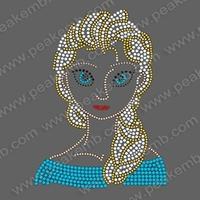 New Design Frozen Princess Elsa Rhinestone Motif Custom Iron On Designs Bling Transfer Free Shipping Fast 30Pcs/Lot
