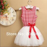 Girl Dress Hot Pink Striped Infant Princess Party Dress 6Layer Chiffon And 1 Cotton Lining