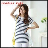 Free shipping new fashion 2014 striped O-neck t-shirts women cotton shirt summer short sleeve tee shirts T020
