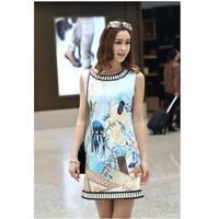 2014 New Print Plus Size Spring Summer Sleeveless Famous Designer Fashion Casual Slim Elastic Sexy Women's Dress