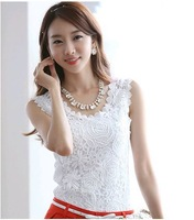 Summer 2014 New Women Knitted Cotton Lace Vest blouse plus size basic sleeveless lace tank crop top Shirt(S-XXL)