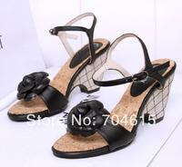 2014 new free shipping womens brand real leather black high wedge heels platforn open toe flower dress wedding heels sandal shoe