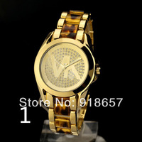Free shipping New 2014 Women Dress Watches Big Logo Rhinestone Watches Fashion Luxury Brand Kors Watch Women Wristwatches 6Color