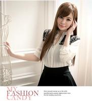 kimono hollow out regular solid fashion blouses roupas femininas arrival 2014 hot selling elegant beads chiffon shirt blouse