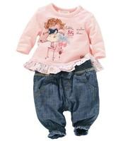 2014 children design of baby girls dress cute girl pink long sleeves lace skirt + jeans suit sportswear 0-24months ATZ014