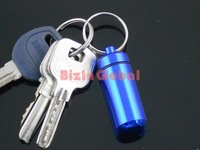 Aluminum Pill Travel WaterProof Box Case holder Bottle Container 6 colors with Key Ring 500pcs /lot
