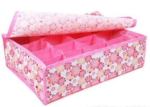 FREE SHIPPING Hot Sale Folding 12 Grid Storage Box For Bra,Underwear,Socks 31.5*22.5*10.5CM 2pcs/lot(China (Mainland))