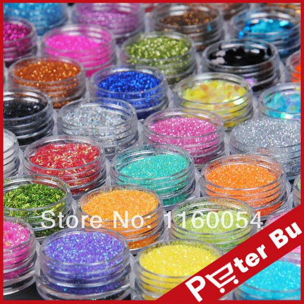 New 48 Color Metal Big Hexagon Strip Glitter Nail Art Powder Dust Polish Gem 1017(China (Mainland))