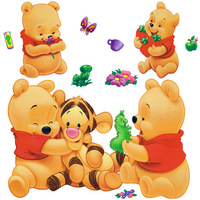 Removable Wall Stickers Winnie The Pooh And Tigger Cartoon Fashion Decoration Sticker Decorative Stickers 377