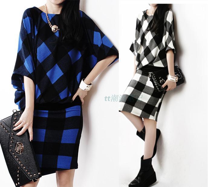 Free shipping 2014 spring Women slim hip fashion one-piece dress fashion plaid batwing sleeve half sleeve bag(China (Mainland))