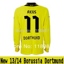 New 13/14 Borussia Dortmund Home #11 Marco Reus Long Sleeve Yellow soccer jerseys 2013-14 Football Kit Soccer Uniforms(China (Mainland))