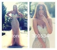 2014 Mermaid Evening Dresses Long Crystal Rhineston Tulle Formal Evening Gown Custom-made
