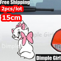 2pc Girlfriend Gift Novelty Automobiles & Motorcycles Exterior Marie Cat Stickers For Car Accessories On The Window Door Decals