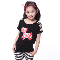 New Fashion Children's Clothing 2014 Summer Child Tops Girls T-shirt Stylish Girl's Short-sleeve T-shirt for 3--9 years
