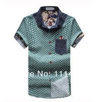 2014 Summer New Polka Dot Men Shirt Short Sleeve Fashion Floral Collar Men's Shirts Cuff Patchwork Man Tee Tops