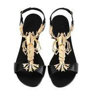 2014 new black metal lobster fish head flat sandals sheepskin material sandals