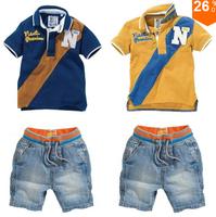 tz266, Детская одежда набор мальчиков одежду письмо костюм с длинными рукавами с капюшоном свитер + джинсы детские буксировки наборы розничной