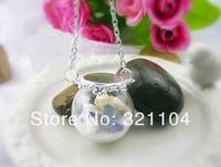 Free ship!10set/lot 25*15mm Glass Bubble vial glass globe with double hole base finding set DIY vial pendant glass bubble