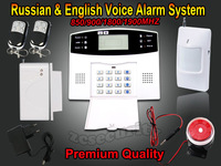 Wired and Wireless LCD Home Security GSM alarm system with Russian and English Spanish Voice Auto dialer free shipping