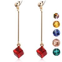 Earrings female fashion design red crystal long drop earring
