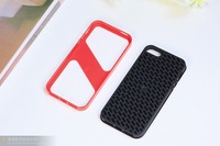 Free Shipping New Fashion Two-color TPU Gel Soft Skin Case Protective Cover for iphone 5 5s red/black