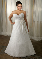 Free Shipping New Arrival Lace Sweetheart Bow Sash Plus Size Wedding Dress