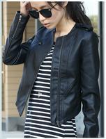 Hot-selling 2014 Spring autumn fashion PU clothing female short design slim regular all-match coat leather jacket women S M L XL