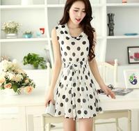 wholesale 1026 2014 summer chiffon one-piece dress summer dress polka dot slim one-piece dress