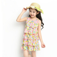 New Summer 2015 Children Clothing Female Child Girl Princess One-piece Sweet Tulle Chiffon Tank Layered Dress Free Shipping A080