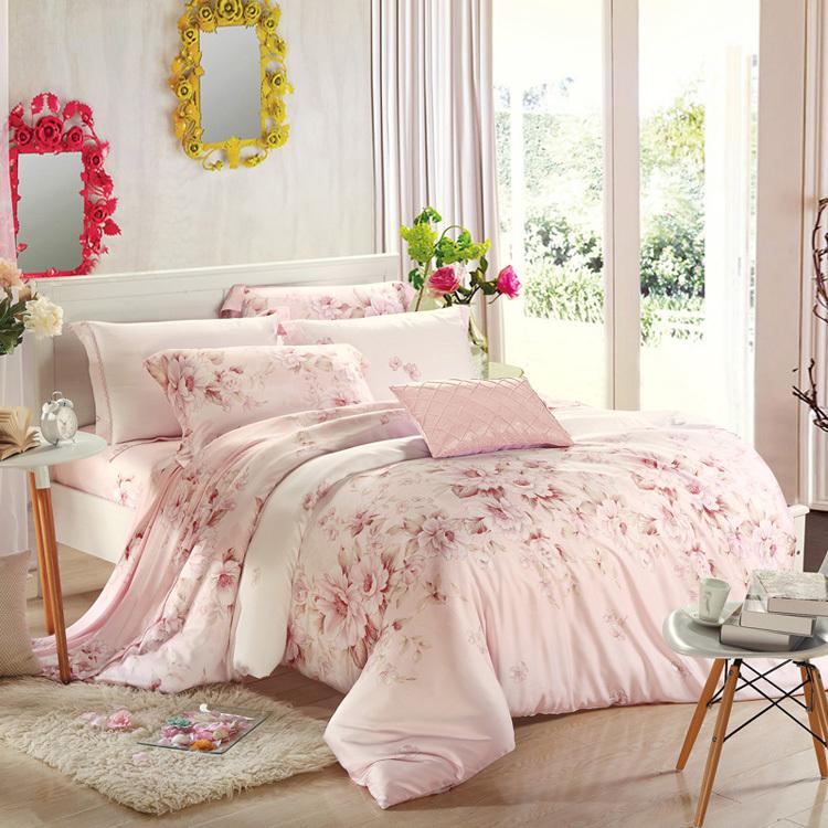 Romantic style bedding 4pcs bedding set light pink warm color duvet